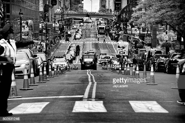 Counter Terrorism Security Vehicles Along 42nd Street, New York City