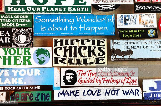 counterculture bumper stickers - bumper sticker stock photos and pictures