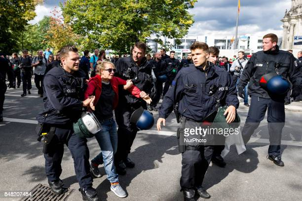A counterdemonstant is discharged by the police Under the motto quotProtect the most vulnerable yes to every childquot antiabortionist and socalled...