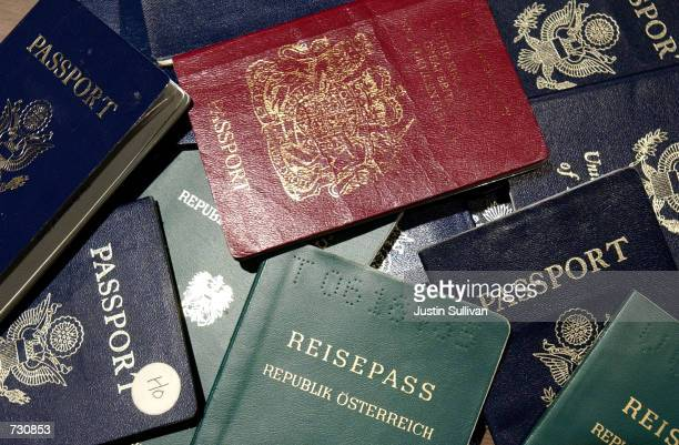 Counterfeit passports are shown at San Francisco International Airport June 14 2002 in California At more than 300 ports of entry across the US a new...