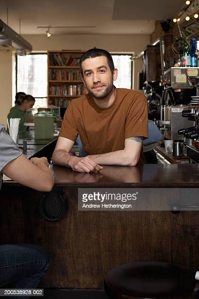 Counterman in cafe, portrait