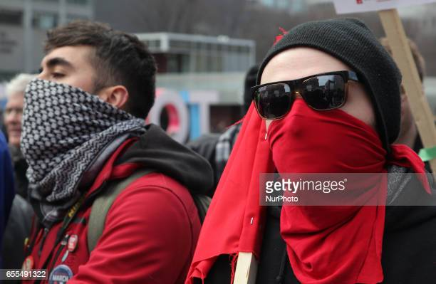 Counterprotest against Islamophobia and Fascism in downtown Toronto Ontario Canada on March 19 2017 Protesters clashed with antiMuslim and fascist...