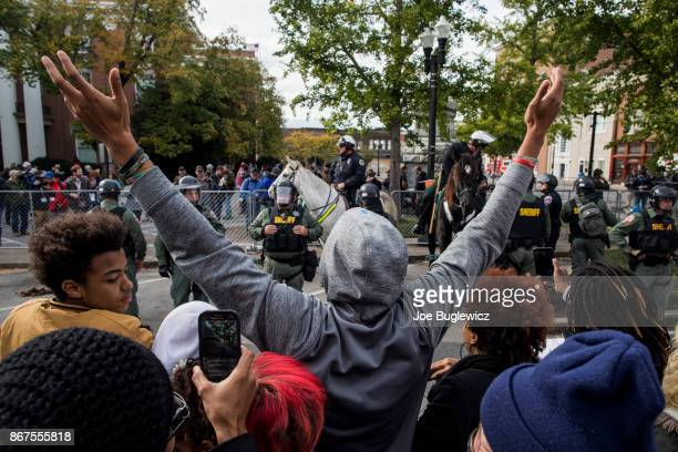 Counterprotesters demonstrate against a White Lives Matter rally on October 28 2017 in Murfreesboro Tennessee Tennessee Gov Bill Haslam said state...
