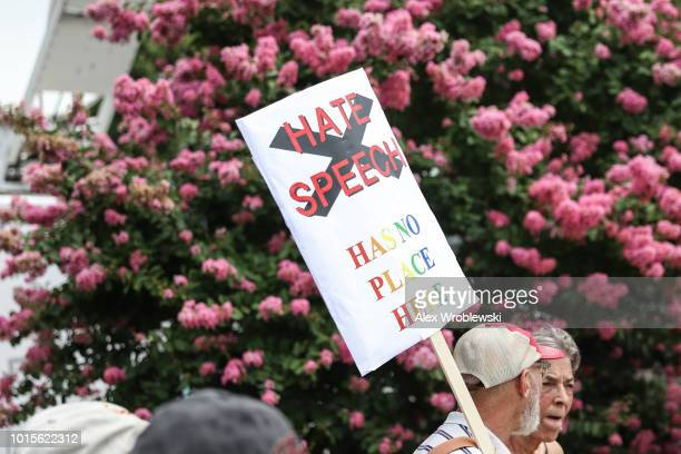 Counterprotesters gather at Freedom Plaza before the 'Unite the Right' rally in Lafayette Park across from the White House August 12 2018 in...