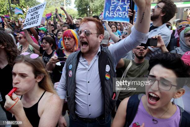Counterprotesters yell during the Straight Pride Parade in Boston on Aug 31 2019 In dueling demonstrations about a mile apart a Straight Pride Parade...