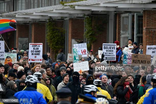 Counterprotestors outnumber a We The People rally at Independence Mall in Philadelphia PA on November 17 2018 The patriotic gathering is met with...