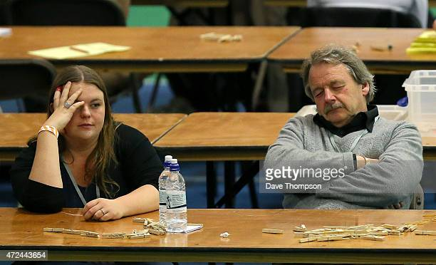 Counters wait for ballot boxes to be delivered prior to the arrival of Liberal Democrat leader and Deputy Prime Minister Nick Clegg during his...