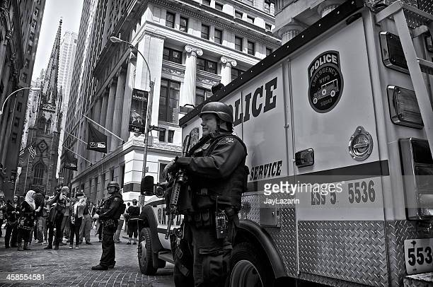 NYPD Counter-Terrorism ESU Officers & Vehicle, Wall Street, NYC