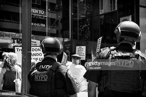 NYPD Counter-Terrorism Officers Watch Protesters, Trump Tower, Midtown Manhattan, NYC