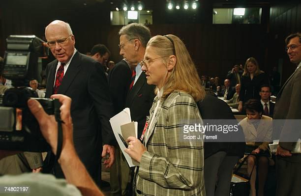 COUNTERTERRORISMSenate Judiciary Chairman Patrick J Leahy DVt and Sen Charles E Grassley RIowa escort witness Coleen Rowley an FBI special agent in...