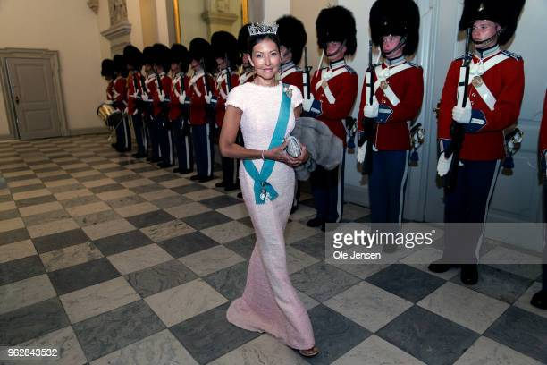 Countess Alexandra former wife of Prince Joachim arrive to the gala banquet on the occasion of The Crown Prince's 50th birthday at Christiansborg...