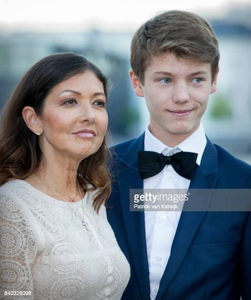 Countess Alexandra of Denmark and Prince Felix of Denmark attend the 18th birthday celebration of Prince Nikolai at royal ship Dannebrog on August 28...