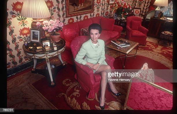 Countess Aline of Romanones poses with her book 'The Spy Wore Red' March 15 1991 in New York City First bestseller of the Americanborn countess who...