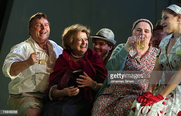 Countess Beatrix von SchoenburgGlauchau performs on stage with actors during the rehearsal of the operetta Weisses Roessl prior to the Thurn und...