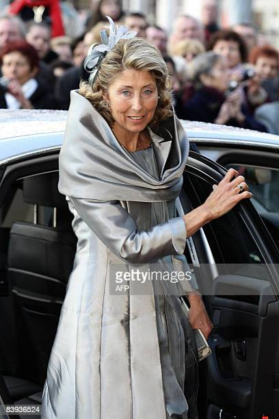 Countess Colienne of Limburg Stirum mother of the groom arrives at the Mechelen City Hall for the wedding of Archduchess Maria Christina of Austria...