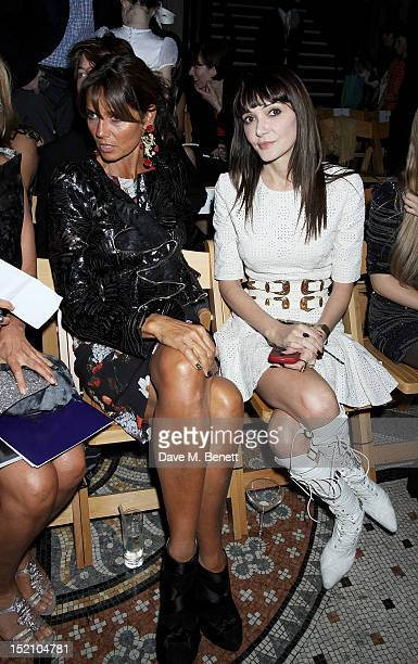 Countess Debbie von Bismarck and Annabelle Neilson attend the front row for the Philip Treacy show on day 3 of London Fashion Week Spring/Summer 2013...