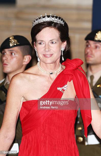 Countess Diane de Nassau attends the Gala dinner for the wedding of Prince Guillaume Of Luxembourg and Stephanie de Lannoy at the Grandducal Palace...