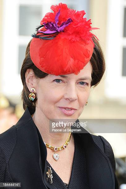 Countess Diane of Nassau attend the wedding ceremony of Prince Guillaume Of Luxembourg and Princess Stephanie of Luxembourg at the Cathedral of our...