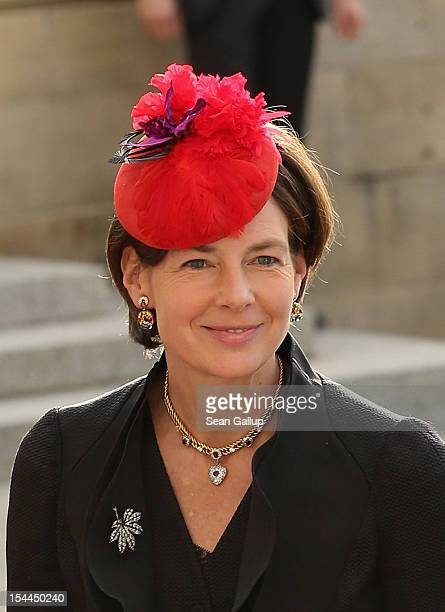 Countess Diane of Nassau emerge from the Cathedral following the wedding ceremony of Prince Guillaume Of Luxembourg and Princess Stephanie of...