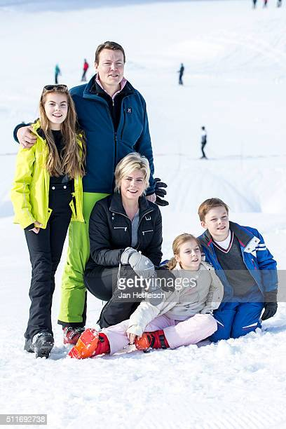 Countess Eloise, Prince Constantijn, Princess Laurentien, Countess Leonore, Count Claus-Casimir pose for a picture during the annual photo call on...