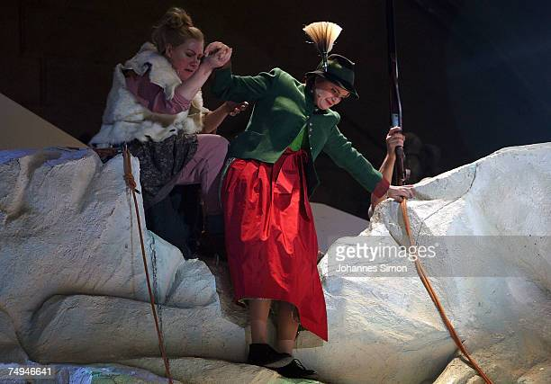 Countess Gloria von Thurn und Taxis and Anke Zillich performs on stage during the rehearsal of the operetta 'Weisses Roessl' prior to the Thurn und...