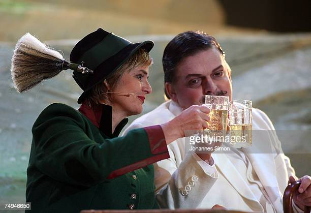 Countess Gloria von Thurn und Taxis and Guenter Alt perform on stage during the rehearsal of the operetta Weisses Roessl prior to the Thurn und Taxis...