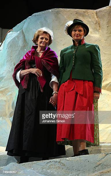 Countess Gloria von Thurn und Taxis and her mother Beatrix von SchoenburgGlauchau perform on stage during the rehearsal of the operetta Weisses...
