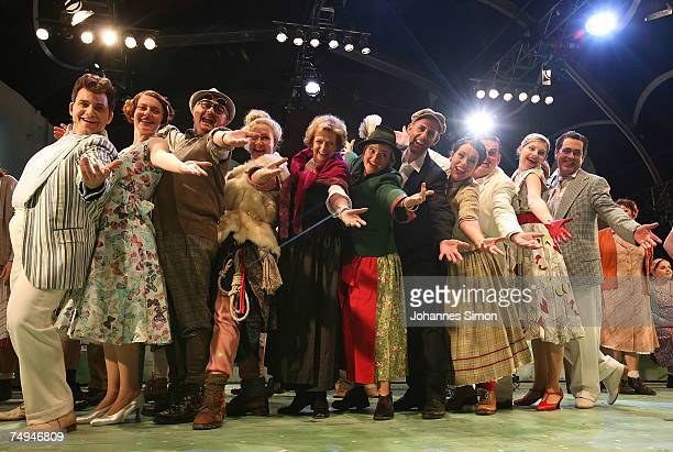 Countess Gloria von Thurn und Taxis and her mother Beatrix von SchoenburgGlauchau perform on stage with actors during the rehearsal of the operetta...