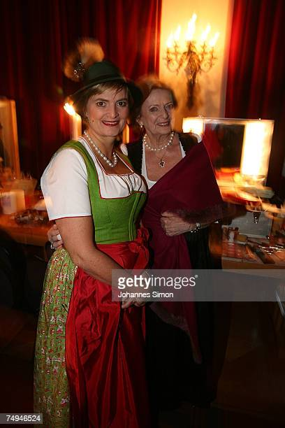 Countess Gloria von Thurn und Taxis and her mother Beatrix von SchoenburgGlauchau pose prior to the rehearsal of the operetta Weisses Roessl during...