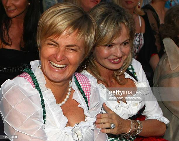 Countess Gloria von Thurn und Taxis and her sister Maya Flick attend the opera 'Carmen' at the Thurn und Taxis castle festival on July 11 in...