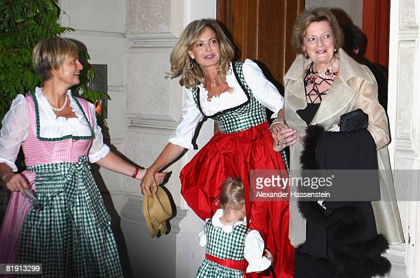 Countess Gloria von Thurn und Taxis and her sister Maya Flick attend with their mother Beatrix von SchoenburgGlauchau the opera 'Carmen' at the Thurn...