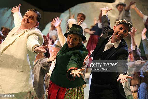 Countess Gloria von Thurn und Taxis Guenter Alt and Otto Katzameier perform on stage during the rehearsal of the operetta Weisses Roessl prior to the...