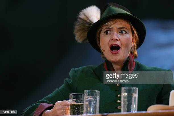 Countess Gloria von Thurn und Taxis performs on stage during the rehearsal of the operetta Weisses Roessl prior to the Thurn und Taxis castle...