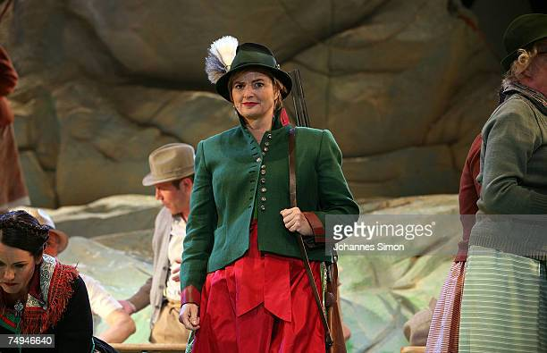 Countess Gloria von Thurn und Taxis performs on stage during the rehearsal of the operetta 'Weisses Roessl' prior to the Thurn und Taxis castle...
