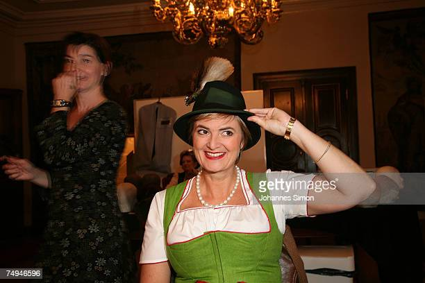Countess Gloria von Thurn und Taxis poses prior to the rehearsal of the operetta Weisses Roessl during the Thurn und Taxis castle festival on June 28...