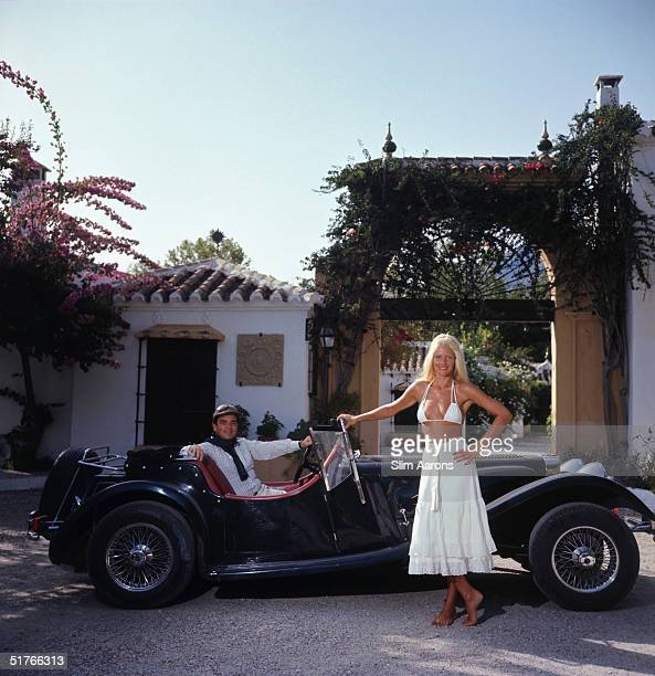 Countess Gunilla von Bismarck and Count Rudi Schoenburg in Marbella southern Spain August 1976
