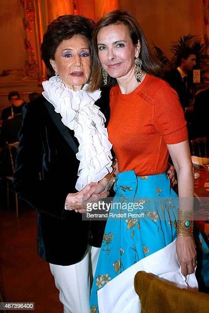 Countess Jacqueline de Ribes and Actress Carole Bouquet attend the 'Societe des Amis du Musee D'Orsay' Dinner Party at Musee d'Orsay on March 23 2015...