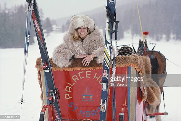 Countess Jan Bonde in the Palace Hotel sleigh on Lake St Moritz Switzerland 1983