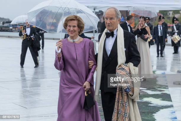 Countess Madeleine Bernadotte Kogevinas of Sweden and Bernhard Mach arrives at the Opera House on the occasion of the celebration of King Harald and...