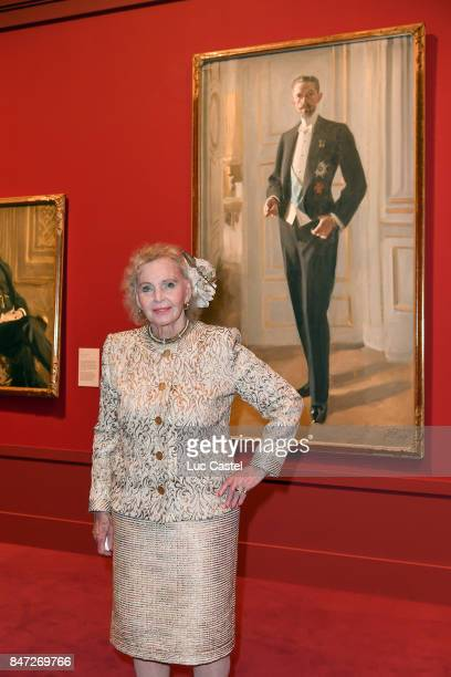 Countess Marianne Bernadotte de Wisborg poses in front of the portrait of King Gustav V during the Swedish Painter Anders Zorn Exhibition at Le Petit...