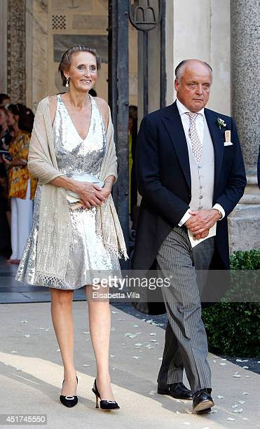 Countess Marie Beatrice von und zu ArcoZinneberg and Count Riprand von und zu ArcoZinneberg attend the wedding of Prince Amedeo Of Belgium and...