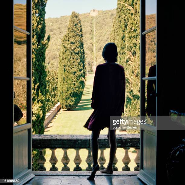 Countess Marina Lambton is photographed taking in the view of the avenue of cypresses for Vanity Fair Magazine on May 11 2012 at Villa Cetinal in...