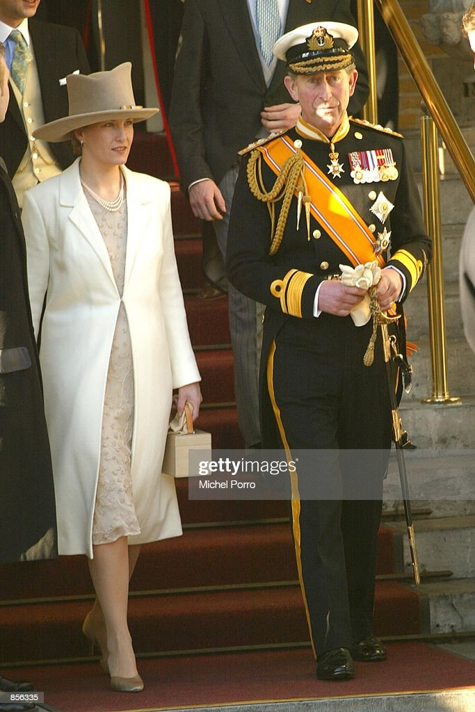 Countess of Wessex Sophie Rhys-Jones and Prince Charles of Britain are on the way to the wedding of Dutch Crown Prince Willem Alexander and Argentine Maxima Zorreguieta February 2, 2002 in Amsterdam, Netherlands.