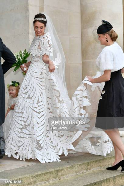 Countess Olympia Von ArcoZinneberg attend the Wedding of Prince JeanChristophe Napoleon and Olympia Von ArcoZinneberg at Les Invalides on October 19...
