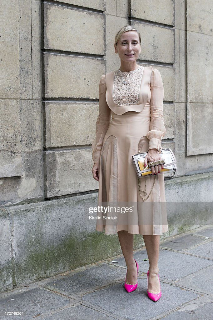 Countess Paola DâAssche wears Casa Dei shoes, and a Valentino dress and bag on day 3 of Paris Collections: Womens Haute Couture on July 03, 2013 in Paris, France.