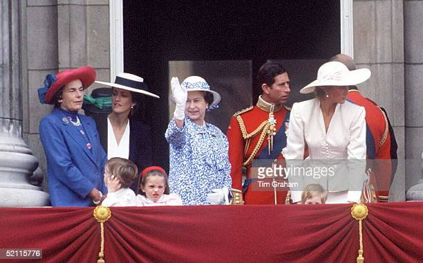 Countess Patricia Mountbatten And Lady Romsey With Her Children Join The Queen Prince Charles Princess Diana And Prince Harry On The Balcony Of...