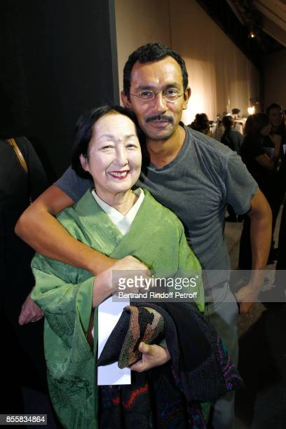 Countess Setsuko Klossowska de Rola and stylist Haider Ackermann pose Backstage after the Haider Ackermann show as part of the Paris Fashion Week...