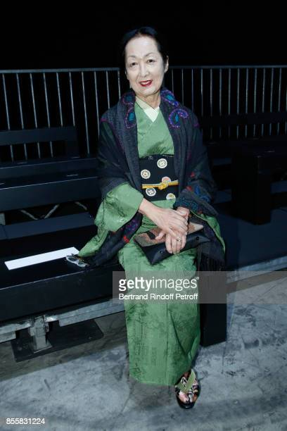 Countess Setsuko Klossowska de Rola attends the Haider Ackermann show as part of the Paris Fashion Week Womenswear Spring/Summer 2018 on September 30...