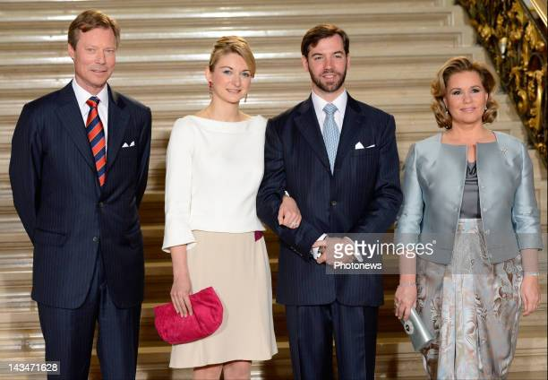 Countess Stephanie de Lannoy and Prince Guillaume of Luxembourg pose with the Prince's parents Grand Duke Henri Guillaume of Luxembourg and Marie...