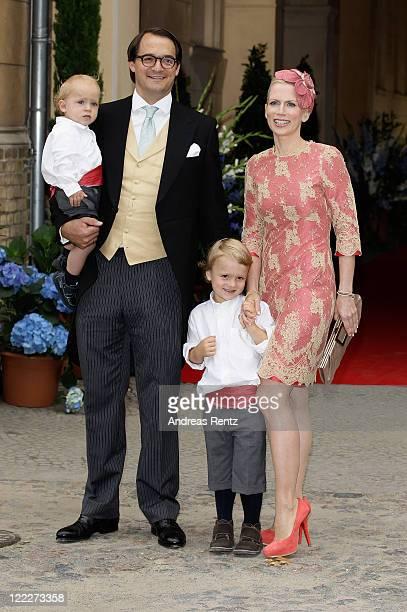 Countess Tamara von Nayhauss with husband Count Alexander von Kalckreuth and their kids attend the religious wedding ceremony of Georg Friedrich...